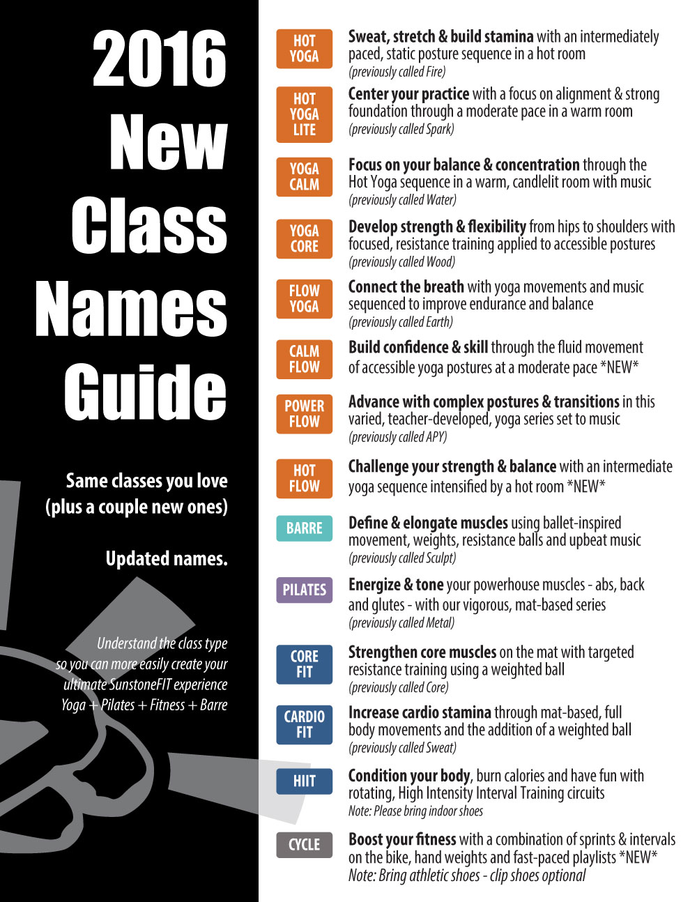 Dallas Hot Yoga, Pilates, Barre & Fitness | 2016 Class Names